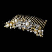 Marvelous Gold Floral Bridal Comb w/ Clear Rhinestones & Ivory Pearls 8280 **1 Left**