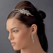 Silver Double Rhinestone Bridal Headband with Crystal Ornate Side Accent HP 2913