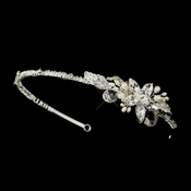 Rhodium Ivory Pearl & Clear Rhinestone Side Accented Headband Headpiece 9990