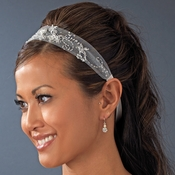 * Beautiful White Netted Ribbon Bridal Headband HP 008