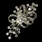 Elegant Rhinestone Vintage Bridal Bouquet Brooch 3161 Antique Silver