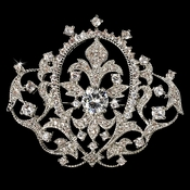 Elegant Antique Silver Vintage Crown Rhinestone Bridal Pin for Hair or Gown Brooch 8007