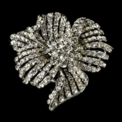 Elegant Vintage Crystal Bridal Pin for Hair or Gown Brooch 11 Silver Clear