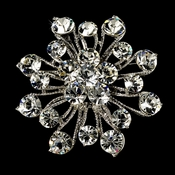 Elegant Vintage Crystal Bridal Pin for Hair or Gown Brooch 10 Antique Silver Clear