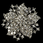 Elegant Vintage Crystal Bridal Pin for Hair or Gown Brooch 15 Silver Clear
