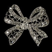 Elegant Vintage Crystal Bridal Pin for Hair or Gown Brooch 12 Silver Clear