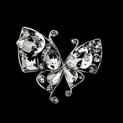 Antique Silver Clear Rhinestone Butterfly Brooch 111