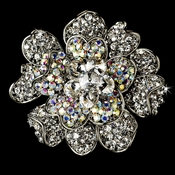 Large Antique Silver Clear and AB Rhinestone Celebrity Style Brooch for Gown or Hair - Brooch 8779