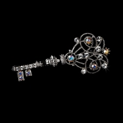 * Brooch 72 Antique Silver Clear and AB Rhinestones ***9 Left***