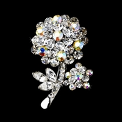 * Antique Silver Clear Aurora Borealis Rhinestone Flower Brooch Pin 96