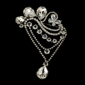 * Stunning Antique Silver Rhinestone Vintage Swirl Flair Bridal Brooch Pin - Brooch 45 ***6 Left***