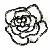 * Antique Silver with Black Rhinestone Rose Bridal Brooch 6277