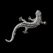 * Antique Silver Clear Aurora Borealis Rhinestone Lizard Brooch 100