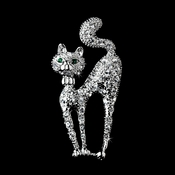 * Antique Silver Clear Rhinestone Cat w/ Green Eyes Brooch 101