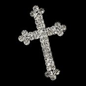 Silver Faith Rhinestone Cross Brooch 30020