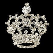 * Silver Royal Rhinestone Crown Brooch 30265