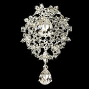 Silver Swarovski Crystal Dangle Brooch 3438