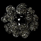 Large Antique Silver with Black Rhinestone Celebrity Style Brooch for Gown or Hair - Brooch 8779