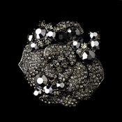 Antique Silver w/ Black Rhinestones Brooch 86