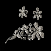Silver Clear 3 Piece Set Brooch 85