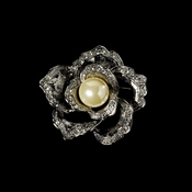 * Elegant Vintage Crystal Bridal Pin for Hair or Gown Brooch 29  Antique Silver Ivory