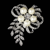 Antique Silver Rhinestone & Diamond White Pearl Vintage Vine Bouquet Bridal Brooch 35