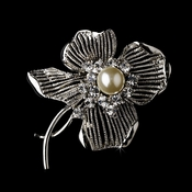 * Brooch 69 Antique Silver Diamond White and Rhinestone ***1 Left***
