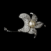 * Brooch 68 Antique Silver Rhinestones and Diamond White Pearl