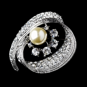 * Radiant Antique Silver with Clear Rhinestones and Ivory Pearls Brooch 92