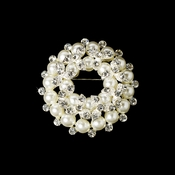 * Silver Ivory and Rhinestone Wreath Brooch 3440
