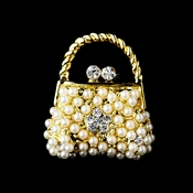 * Gold Ivory Pearl Clear Rhinestone Purse Pin Brooch 76