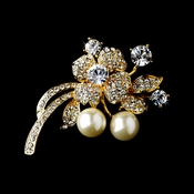 * Golden Floral Brooch with Clear Rhinestones and Ivory Pearls Brooch 91