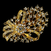 Elegant Vintage Crystal Bridal Pin for Hair or Gown Brooch 17 Gold Clear