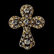 * Gold Clear Rhinestones Cross Brooch 105