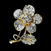 * Gold Clear Rhinestone Flower Brooch Pin 94