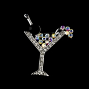 * Antique Silver Clear AB and Black Rhinestone Martini Bridal Brooch 30244