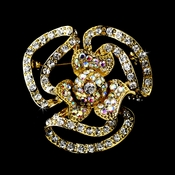 Gold Clear Aurora Borealis Crystal Flower Brooch 60