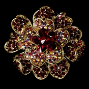 Large Gold Multi Red Rhinestone Celebrity Style Brooch for Gown or Hair - Brooch 8779