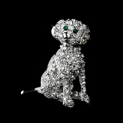 * Antique Silver Clear Rhinestone Dog Pin w/ Green Rhinestone Eyes Brooch 98 ***7 Left***