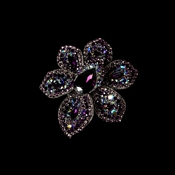 Brooch 8798 Antique Silver Amethyst AB Flower