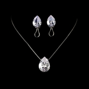 Stunning & Sophisticated, Large Cubic Zirconium Teardrop Jewelry Set N 5006 & E 5335