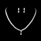 * Pearl Necklace and Earring Set NE 126 Silver White ***Discontinued***
