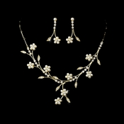 Lovely Gold Clear & Ivory Pearl Flower Necklace & Earring Set 142
