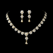 * Gold & Ivory Pearl Necklace and Earrings NE 156