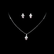 * Necklace Earring Set NE 110 Silver Pink