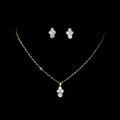 * Necklace Earring Set NE 110 Gold Clear