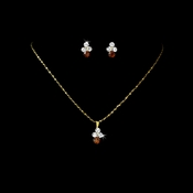 * Necklace Earring Set NE 110 Gold Brown