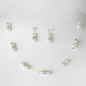 Necklace Earring Set 206 White Clear