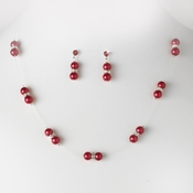 Necklace Earring Set 206 Red Red