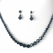 Navy Blue Swarovski Crystal Bridal Jewelry Set NE 231